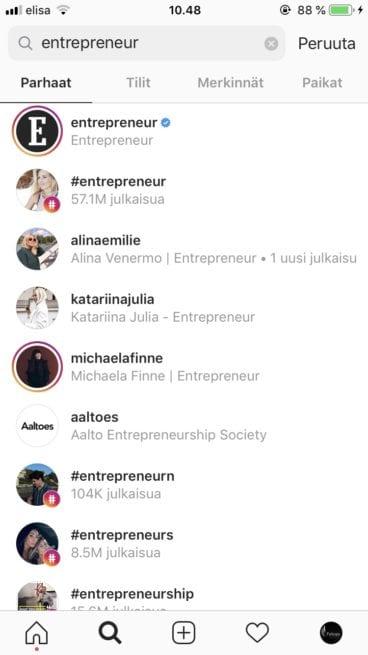 Instagram SEO - Entrepreneur hakusana Instagramissa