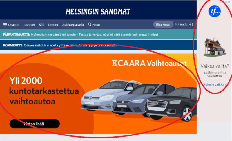 Helsingin Sanomien etusivu, ympyröity mainokset