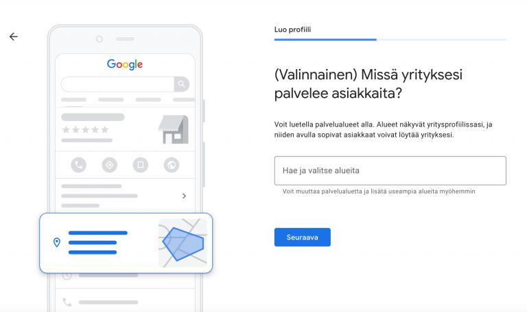 Google My Business palvelualueet