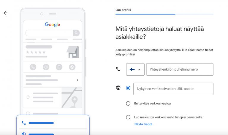 Google My Business lisää yhteystiedot