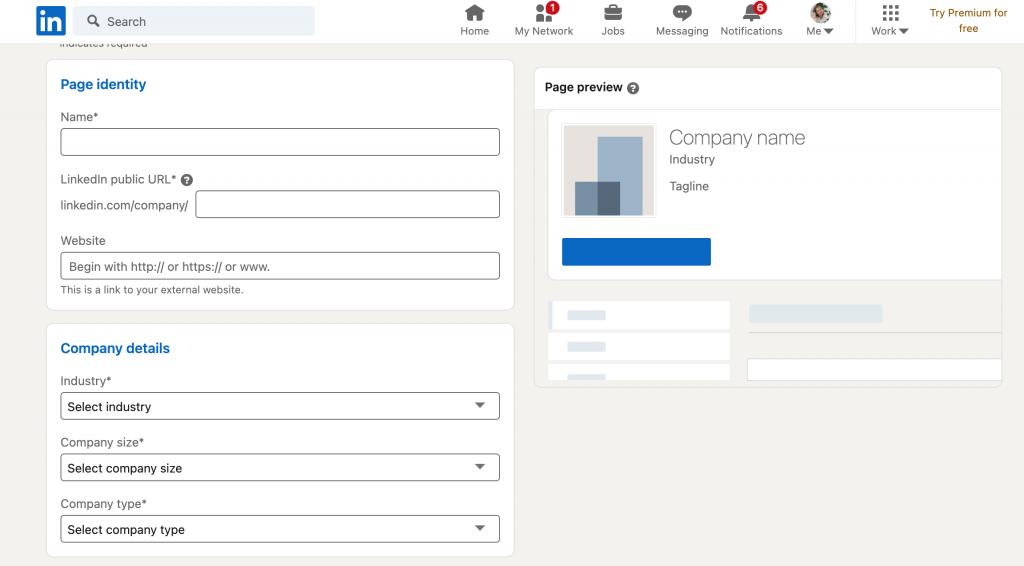 LinkedIn yritysprofiilin luominen. Täydennetään page identity ja company details.